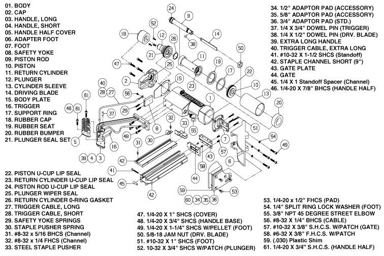 Schematic for Model 445FS Flooring Stapler