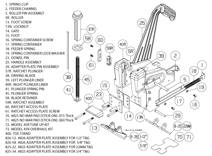 Schematic for Model 45R Ratcheting Manual Nailer