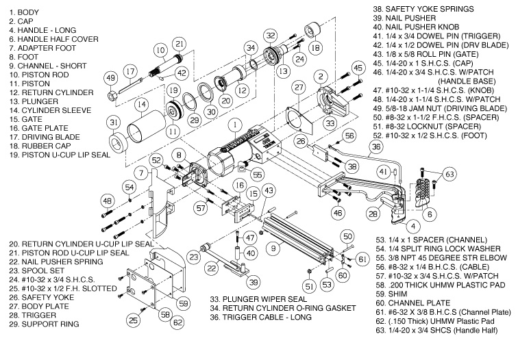 Schematic for Model 50P Pneumatic Nailer