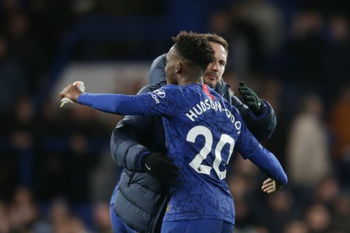 Frank Lampard and Callum Hudson-Odoi after Chelsea's win over Burnley (Photo by Robin Jones/Getty Images)