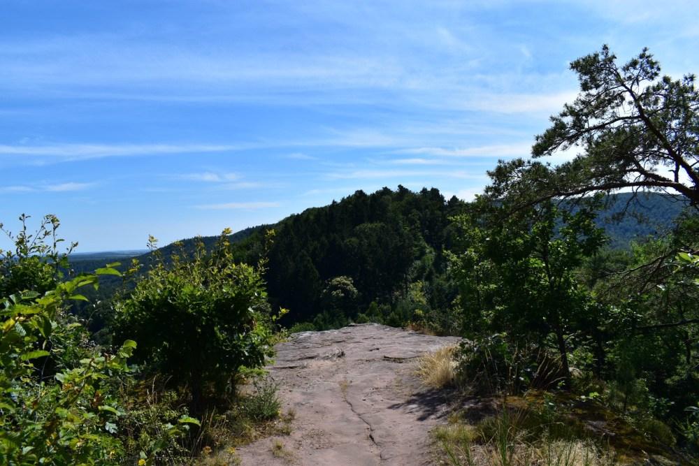 Felsvorsprung mit Ausblick über den Wald um die Burg herum