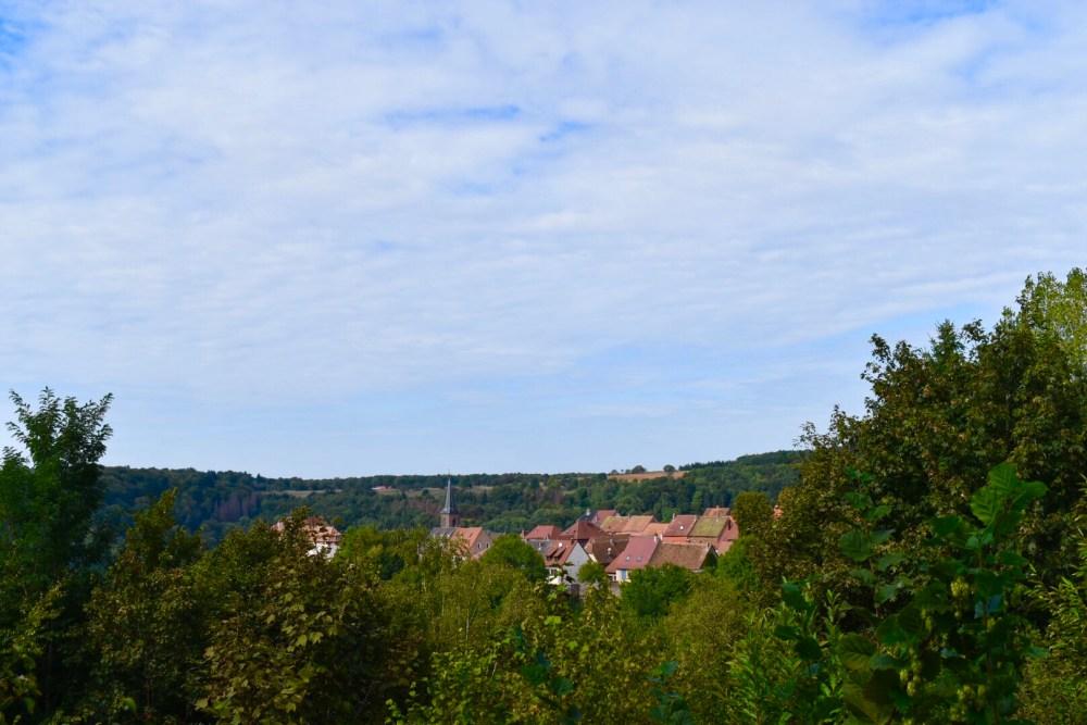 Blick vom Garten auf die Gemeinde Lützelstein und ihre Kirche
