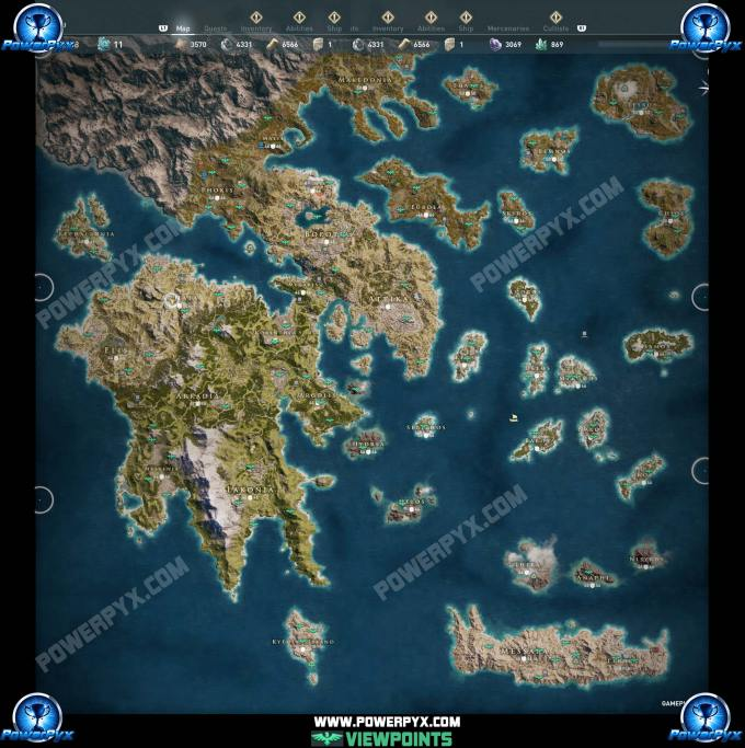 Assassin S Creed Odyssey Viewpoint Locations Map