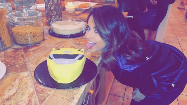 BEcky-Gomez-eating-a-Power-Rangers-cake