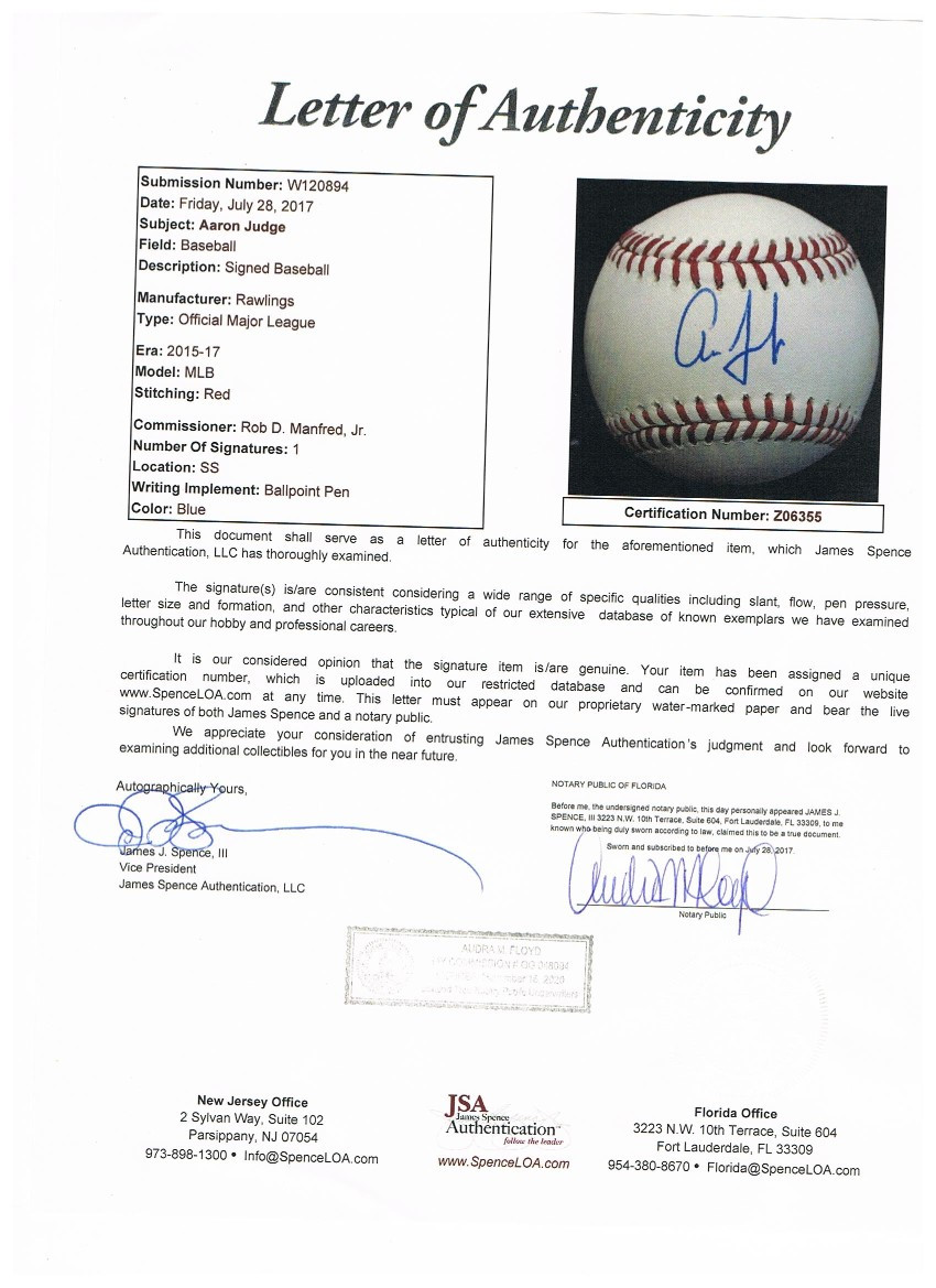Aaron Judge Autographed MLB Authentic Signed Baseball JSA