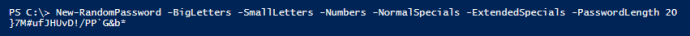 Result of New-RandomPassword function in PowerShell console