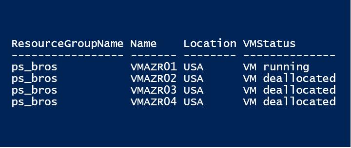 VMs status