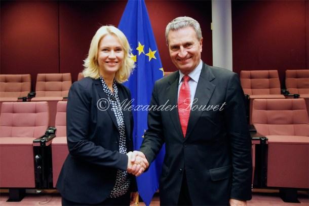 Ministerpresidentin Manuela Schwesig  meets Commissioner Günther Oettinger (European Commission)