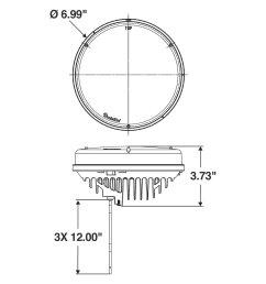 lighttruck lite 81 series stud mount 7 round flood beam led work light scheme [ 1500 x 1500 Pixel ]