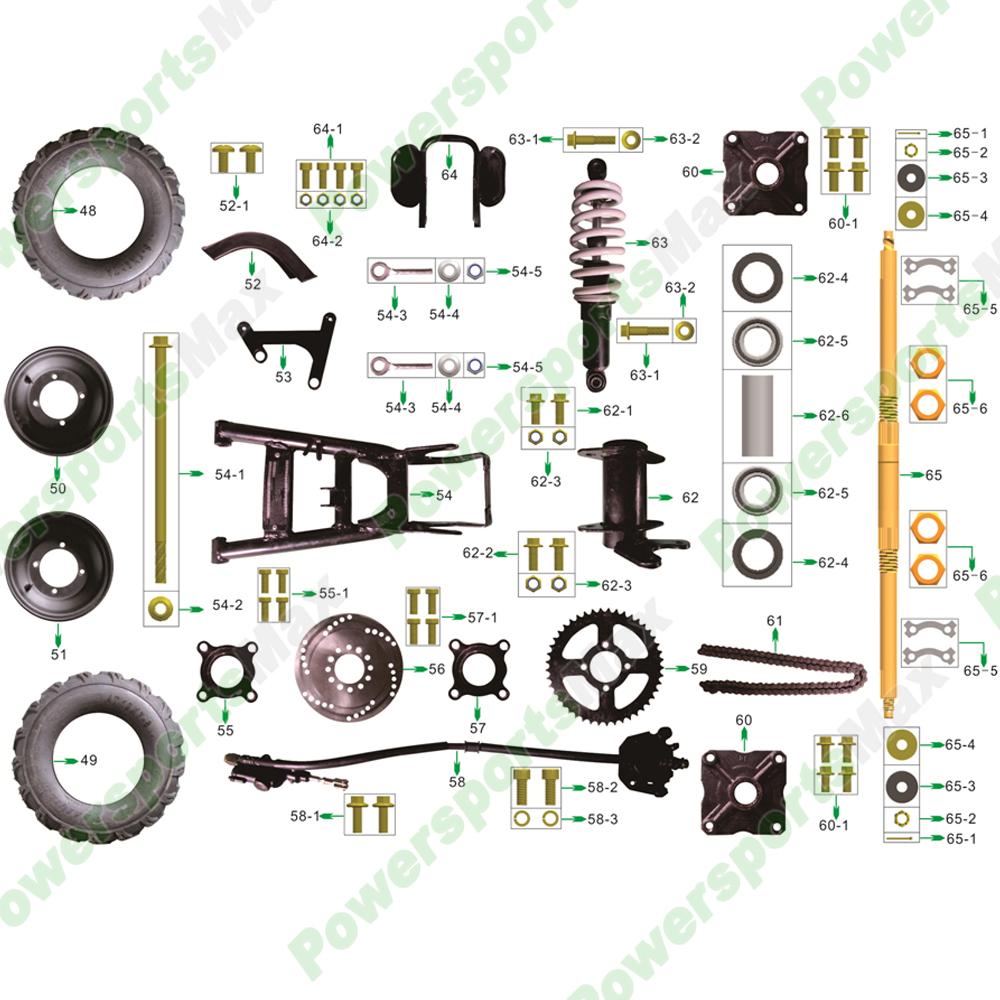 medium resolution of atv 3125r rear wheel assembly