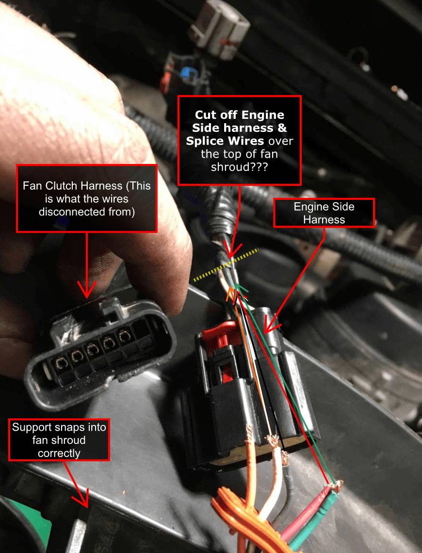 medium resolution of fan clutch wiring fix pulled out of harness ford powerstroke wire harness drawing click