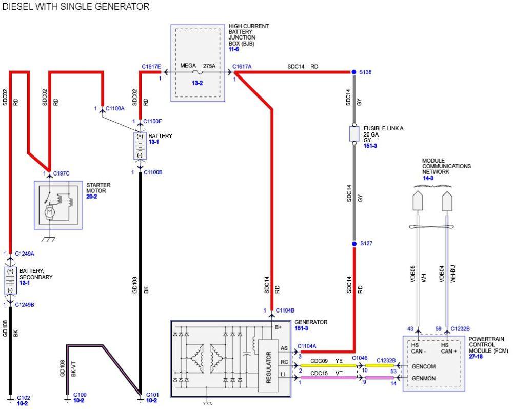 medium resolution of diesel 3 wire alternator diagram