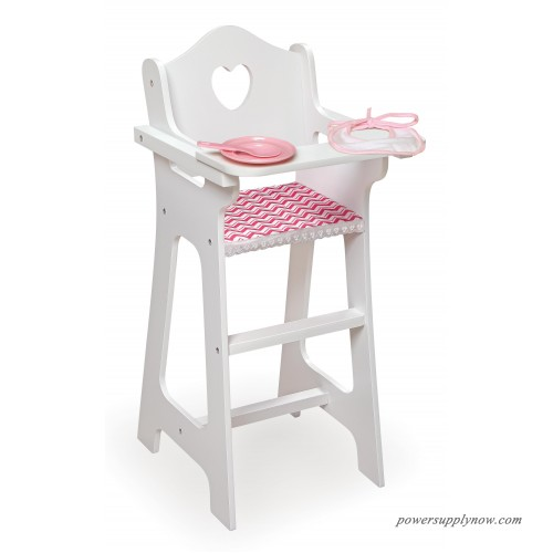 Badger Basket Chevron Doll High Chair with Plate Bib and