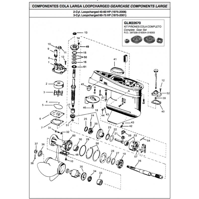 Johnson Evinrude outboard gasket tailpiece parts. Original