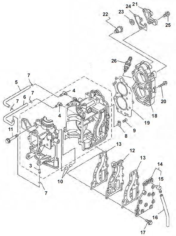 Bloc moteur pièces Yamaha 9.9 F 13,5 AMH & 15F acheter