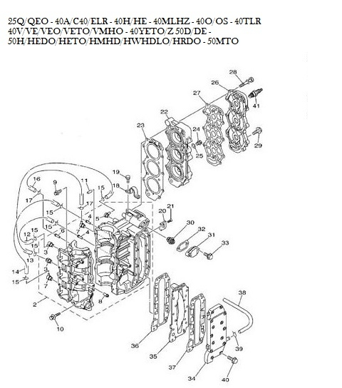 Yamaha 50pk buitenboordmotor motorblok onderdelen 3