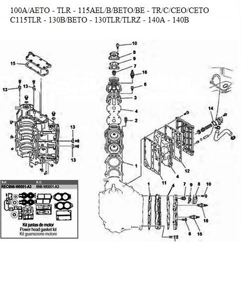Engine block Parts 140 HP Yamaha outboard 90 100 115 130