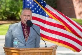 Buddy Harris, Speicher's friend and fellow naval aviator, speaks at the Scott Speicher Memorial unveiling, Feb. 16, 2018. (FSU Photography Services)