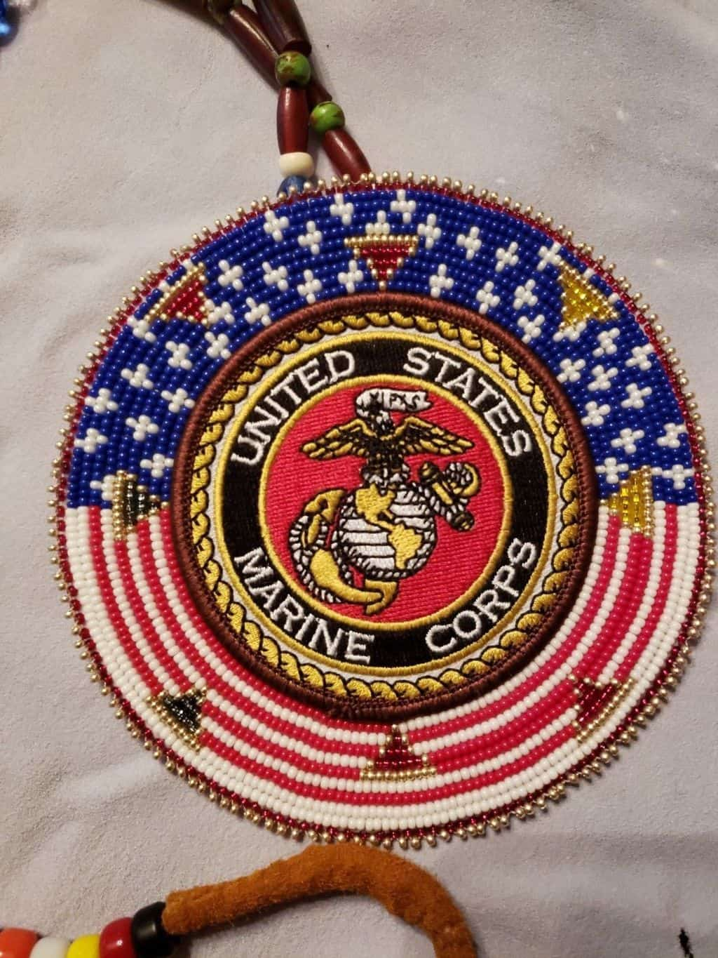 Native American beaded Marine Corps medallion necklace