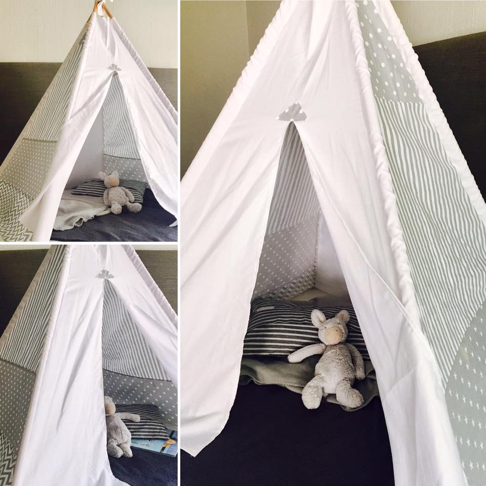 White and grey teepee