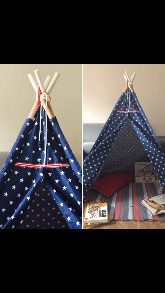 Midnight blue stars teepee for children