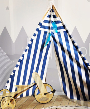 blue and white stripes teepee