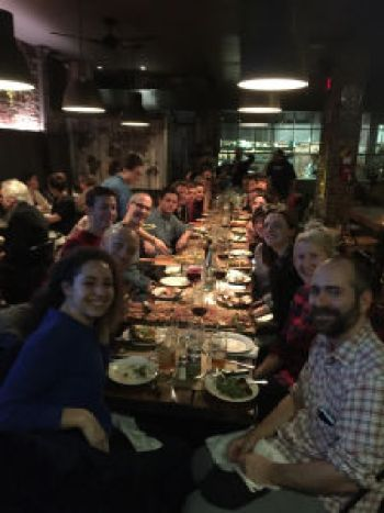 Gimlet staffers celebrate a day of exploring New York with a dinner.