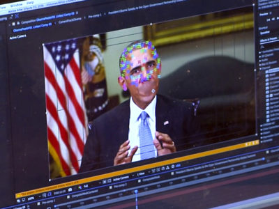 This image made from video of a fake video featuring former President Barack Obama shows elements of facial mapping used in new technology that lets anyone make videos of real people appearing to say things they've never said. There is rising concern that U.S. adversaries will use new technology to make authentic-looking videos to influence political campaigns or jeopardize national security. (AP Photo)