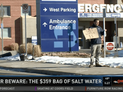KUSA-TV Denver Investigative Reporter Chris Vanderveen interviewed a man who was billed $359 for each bag of saline that a hospital administered to him.