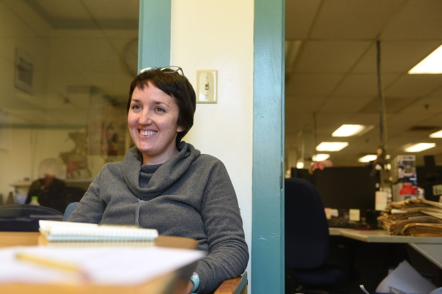Valley News Web Editor Maggie Cassidy, photographed during a meeting at the Valley News in West Lebanon, New Hampshire, on Dec. 4, 2018, has been named the newspaper's next Editor. She is the first woman to lead the newsroom in its 66-year history. (Photo by Jennifer Hauck/Valley News)
