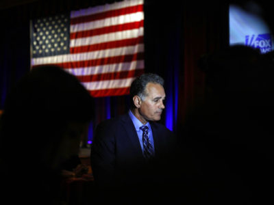 Danny Tarkanian, Republican candidate for Nevada's 3rd Congressional District, speaks to the media during an Election Night watch party on Tuesday, Nov. 6, 2018, in Las Vegas. (AP/Joe Buglewicz).