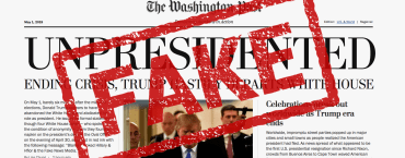 Fake newsprint copies — and a fake Washington Post home page — are making the rounds