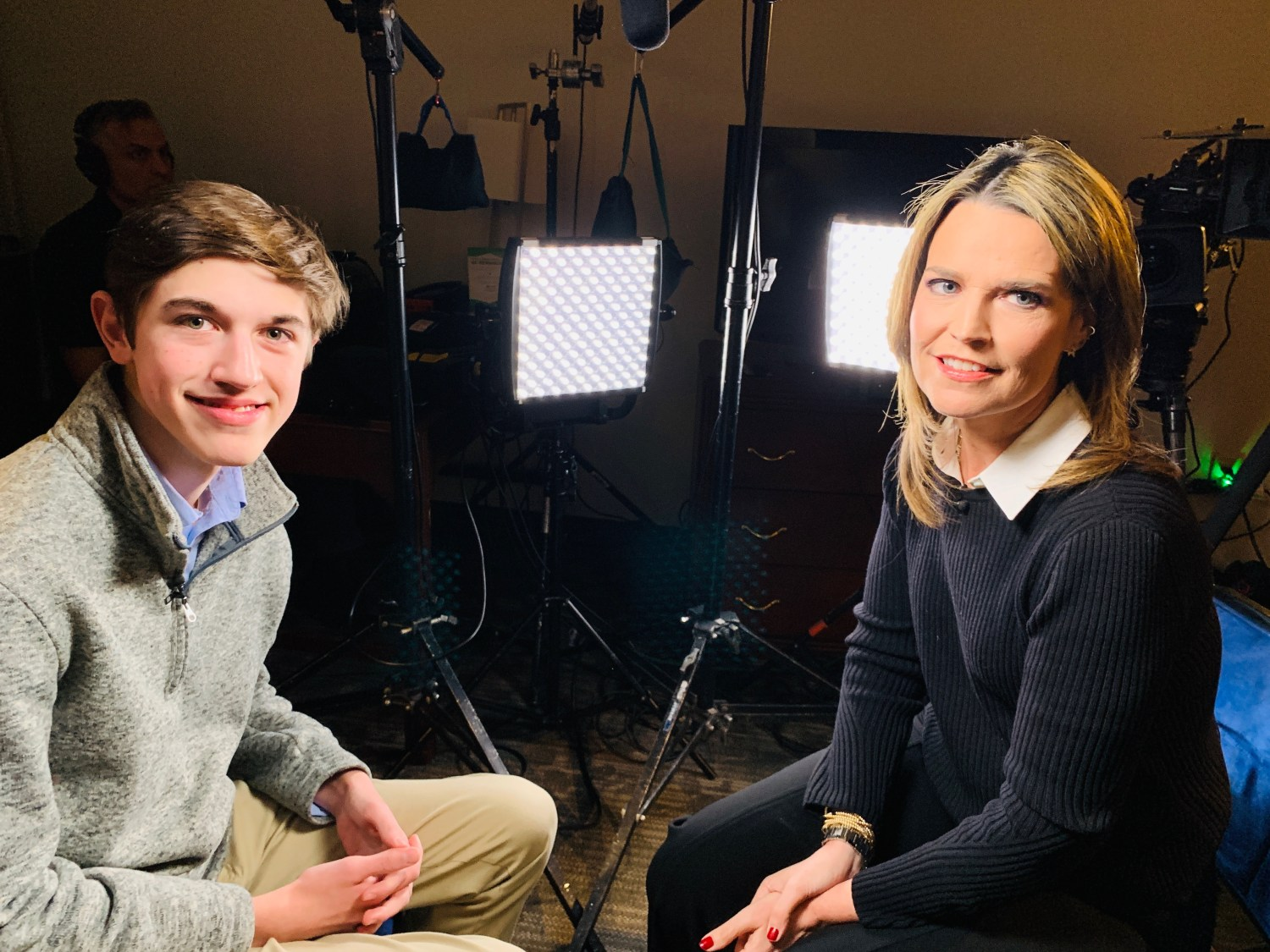"""Nick Sandmann (left) appeared in an interview with """"Today"""" show cohost Savannah Guthrie on Wednesday morning. (Courtesy of """"Today"""")"""