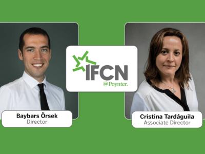 Baybars Örsek and Cristina Tardáguila join Poynter's International Fact-Checking Network. (Graphic: Sara O'Brien)