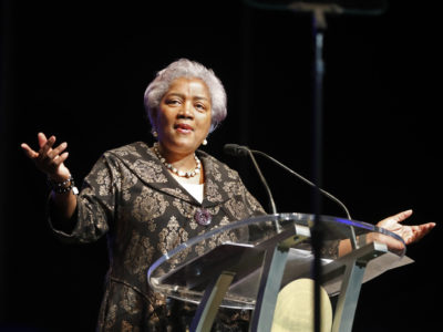 Donna Brazile in 2018, speaking at the inauguration of New Orleans Mayor Latoya Cantrell in Louisiana. Fox News says it has hired former Democratic National Committee chief Brazile as a political commentator. (AP Photo/Gerald Herbert, File)