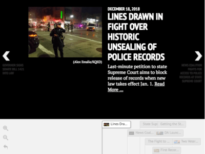 Screenshot of a shared timeline used by several media companies participating in the California Reporting Project.