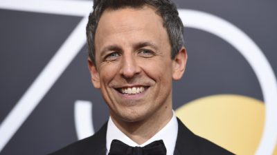 Seth Meyers arrives at the 75th annual Golden Globe Awards in 2018. (Photo by Jordan Strauss/Invision/AP)