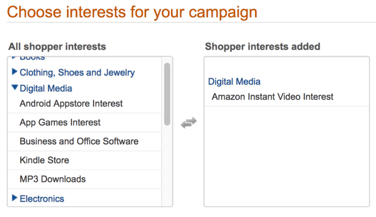 Product Ad Interests