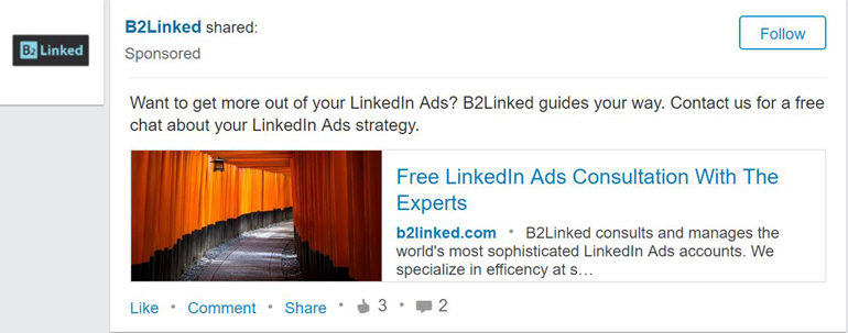 Link-Sharing Sponsored Content ad preview