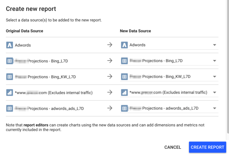 Select data sources for the new report