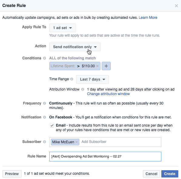 Facebook Automation ad set spend monitoring email alert