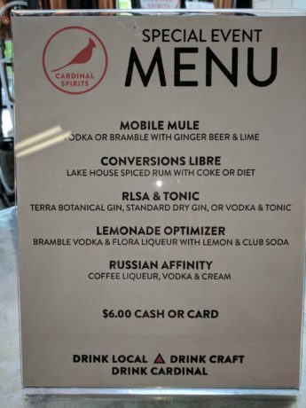 Event menu for a target audience