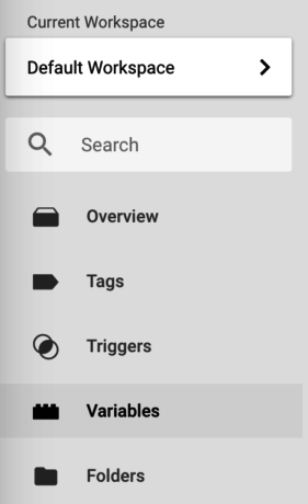 Google Tag Manager variables menu