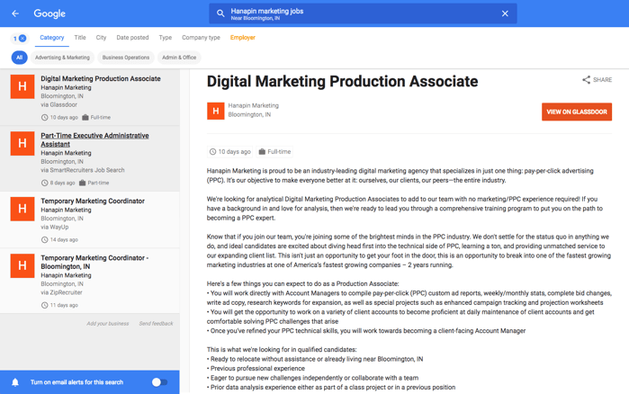 Hanapin Marketing jobs found in Google for Jobs
