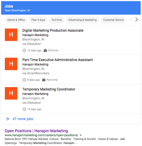 Google for Jobs results near Bloomington, IN