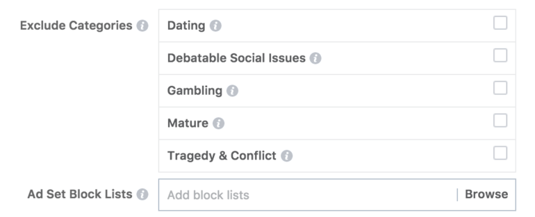 Exclusion topics on Facebook