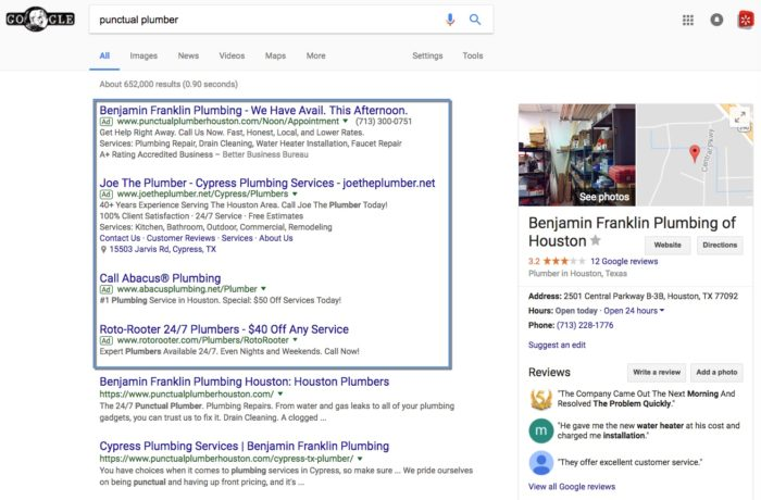 Branded Google search results example