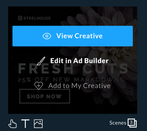Edit in ad builder option selected