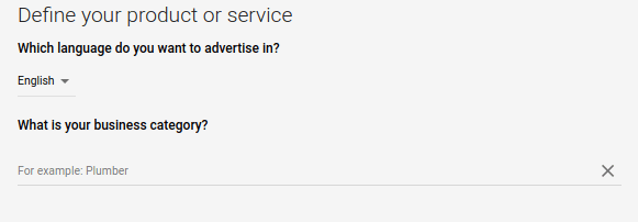 Google Ads define your product or service settings