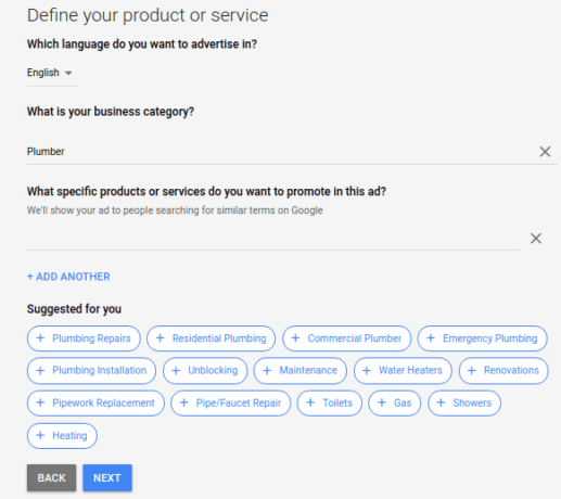 Google Ads define your product or service settings with Google suggestions